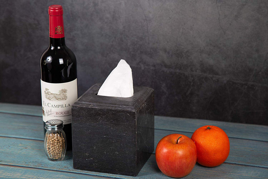 Tissue Box Holder Charcoal Marble Bath Accessories