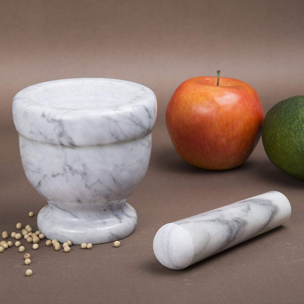 "Genuine Natural Gray Marble Mortar and Pestle Set 4"" Diam x 4"" H"