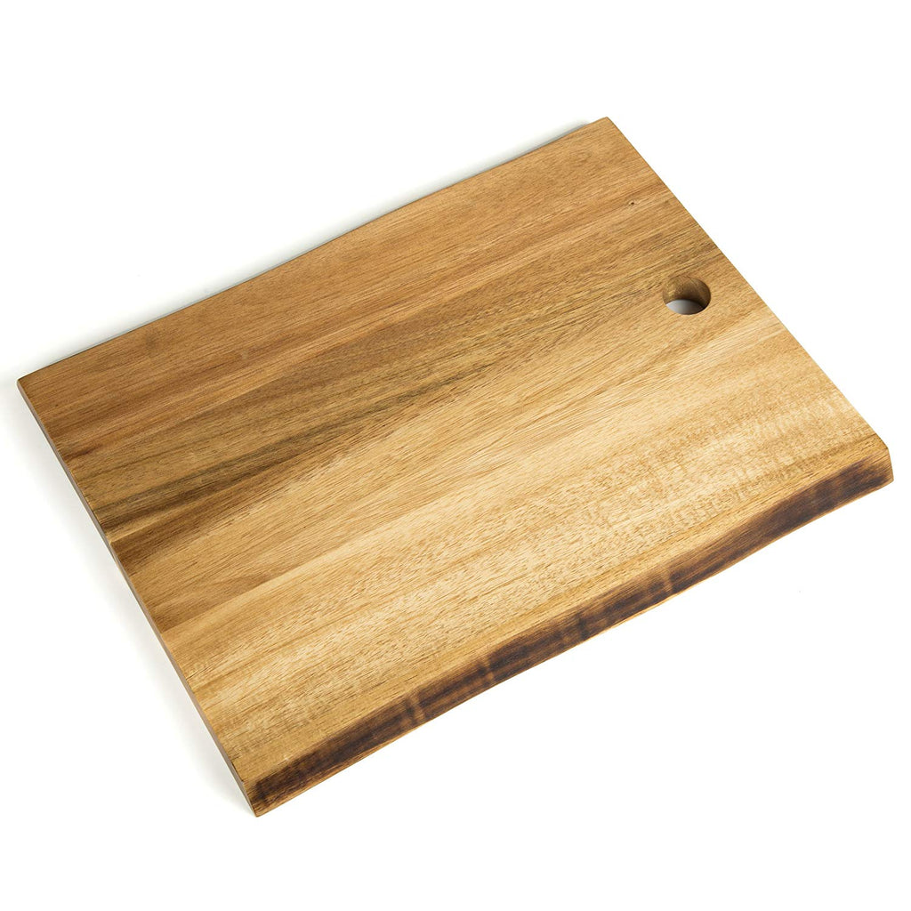 Natural Acacia Wood Cutting Board with One Side Natural Edge, Brown