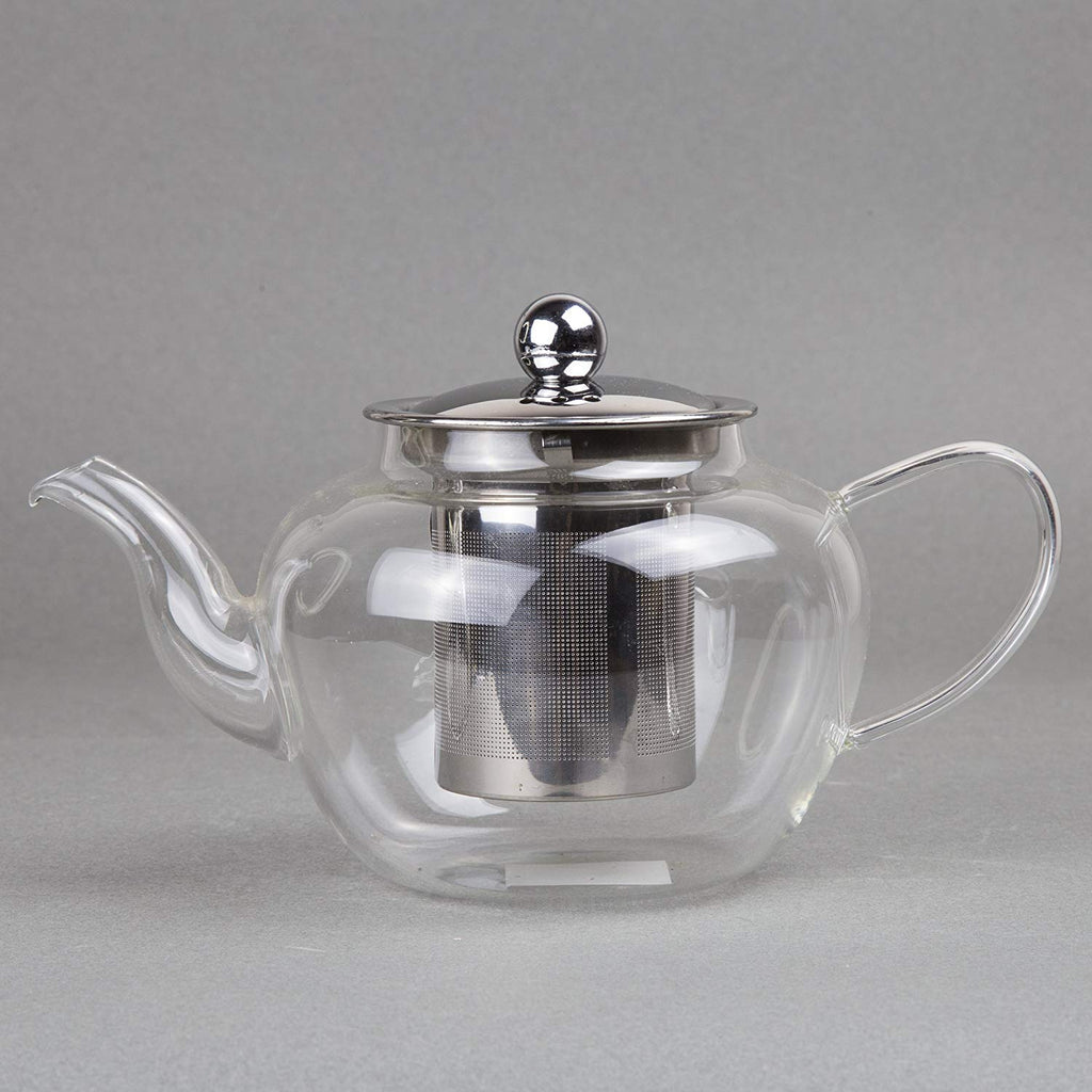 ransparent Glass Tea Pot with Stainless Steel Lid & Filter, 600ml/ 20 oz