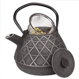 Creative Home 73521 Kyusu Cast Iron Tea Pot with Infuser Basket, 34 oz, Silver/Black