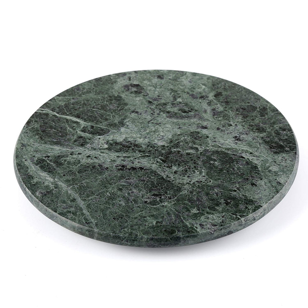 "Genuine Natural Green Marble 12"" Diam. Lazy Susan Serving Plate"