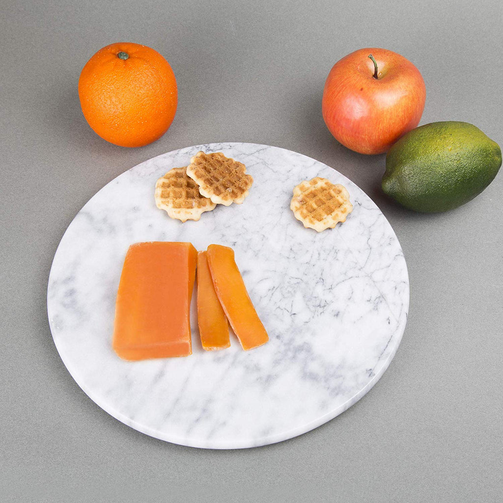 "Genuine Natural Marble 12"" Round Serving Board, Cheese Serving Plate, Off-White"