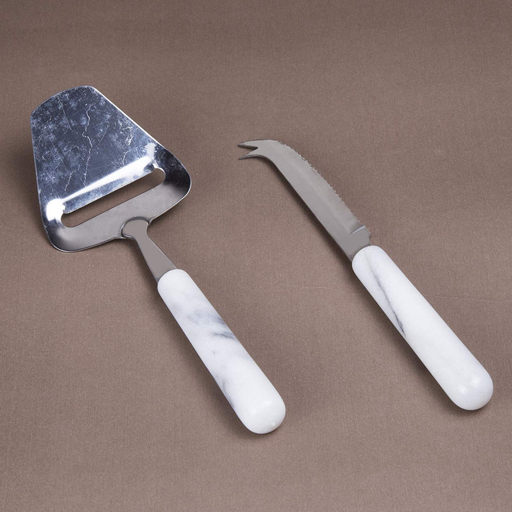 Genuine White Marble Stone 2Piece Serving Set, Stainless Steel Cheese Cutter Slicer & Cheese Knife