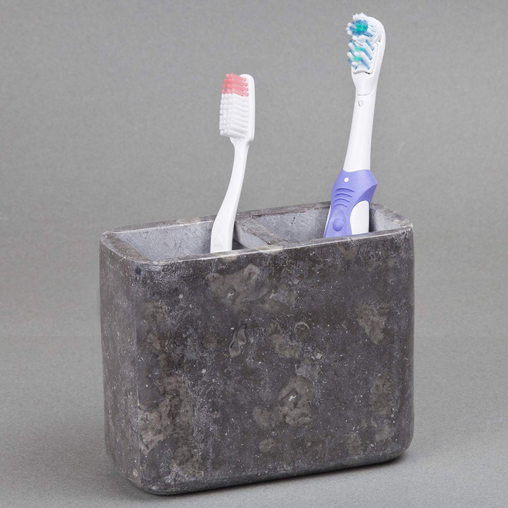 Genuine Charcoal Marble Stone Toothbrush and Paste Holder