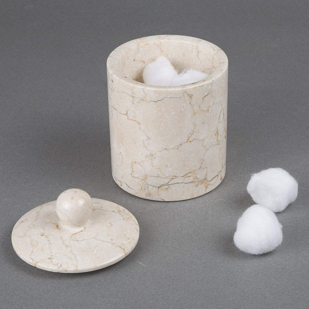 Natural Champagne Marble Cotton Ball Holder