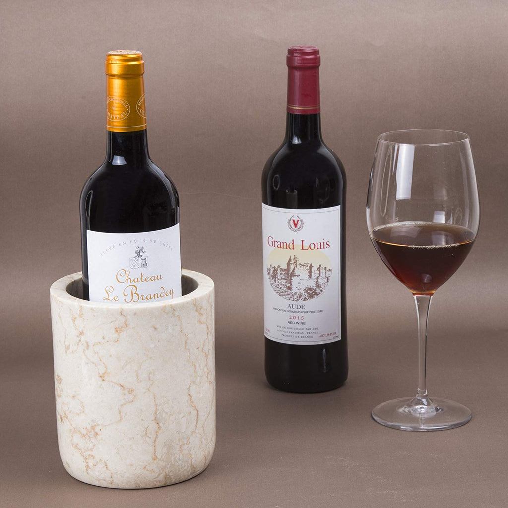 Genuine Natural White Marble Wine Cooler