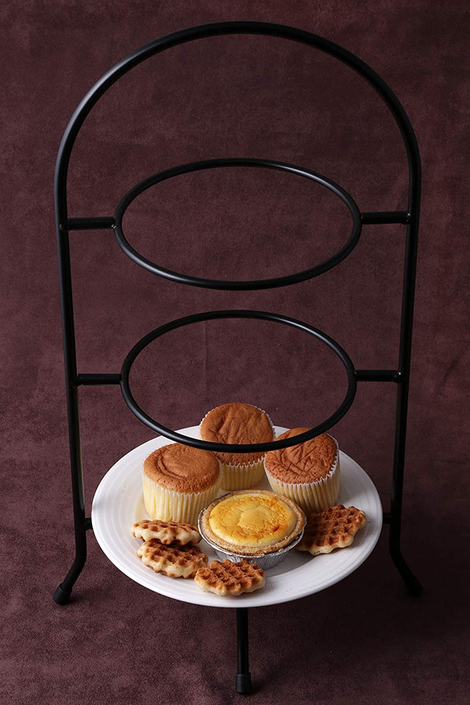 "Creative Home Iron Works 3-Tier Metal Dessert Plate Rack Party Food Server, 18.5"" H, Black"