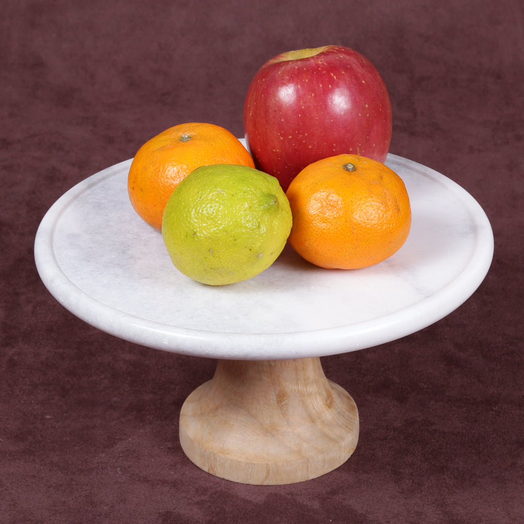 "Creative Home Genuine White Marble and Mango Wood 12"" Diam. Footed Cake Stand, Serving Plate"