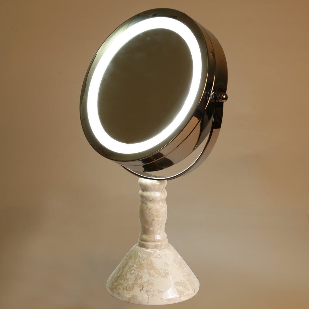 "Creative Home Deluxe 7"" Double Sided Swivel Vanity Led Mirror with 1x, 7x Magnification & Champagne Marble Pillar Stand"