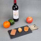 Natural Slate Stone Cheese Serving Paddle Board with Stainless Steel Copper Trim Handle, Black