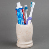 Natural Champagne Marble Double Rings Toothbrush Holder, Tumbler
