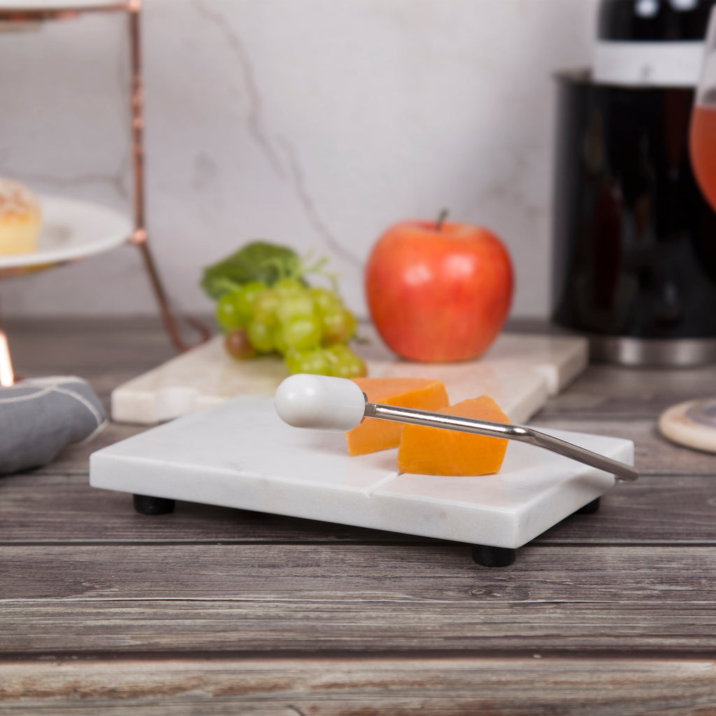 "Natural Marble 5"" x 8"" Cheese Slicer, Butter Cutter with Rubber Feet, Off-White (Patterns may very)"