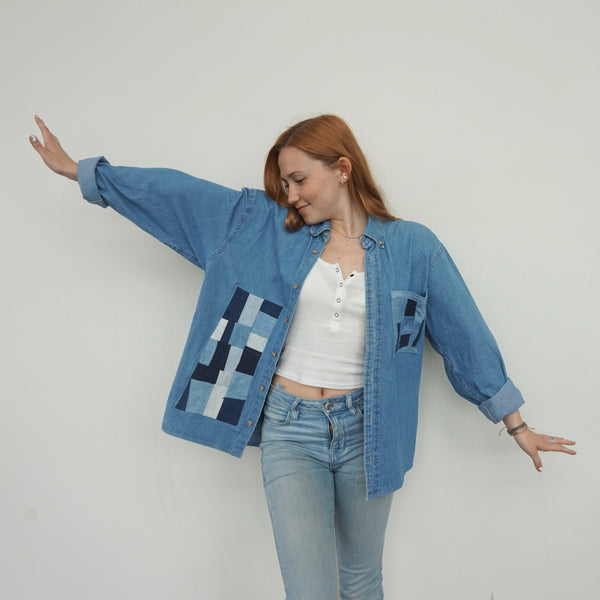 Patchwork Denim Buttondown