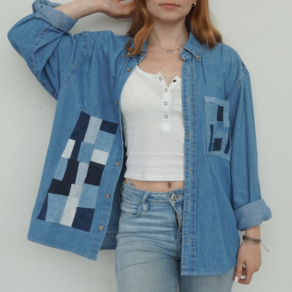 Reconstructed patchwork denim shirt