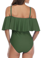Solid Color Off Shoulder Flounce One Piece - Tempt Me