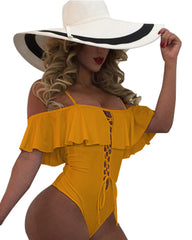 Lace Up Ruffle Off Shoulder One Piece - Tempt Me