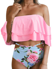 Ruffle Off Shoulder Two Piece - Tempt Me