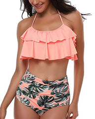 Ruffle Backless Halter Two Piece - Tempt Me