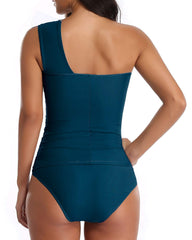 One Shoulder Scrunched Tankini - Tempt Me