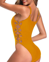 90s Retro Inspired Crisscross Lace Up Swimsuit - Tempt Me