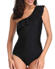 Asymmetrical One Shoulder Ruffle Monokini - Tempt Me