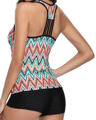 Tribal Stripe Printed Racerback Tankini Set - Tempt Me