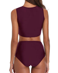 Lace Bow Knot Cutout High Waisted Bikini - Tempt Me