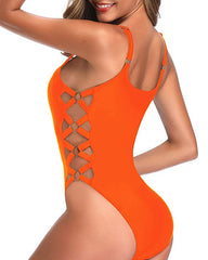 90s Retro Inspired Crisscross Lace Up Swimsuit