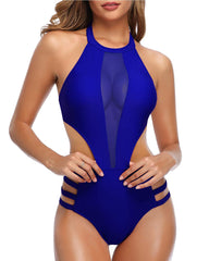 High Neck Mesh Cutout One Piece - Tempt Me