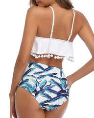 Pom Pom Trim High Waisted Flounce Bikini - Tempt Me