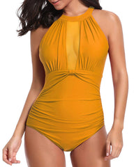High Neck Mesh Ruched Swimwear - Tempt Me