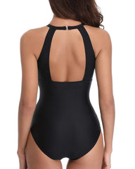 Mesh Ruched High Neck Keyhole Swimsuit - Tempt Me