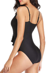 Plunge Ruffle Flounce Strappy Backless Monokini - Tempt Me