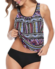 Yonique Tribal Blouson Tankini Set - Tempt Me