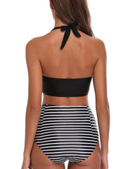 Plunge Cross Ruched Cutout Halter Backless High Waisted Bikini - Tempt Me