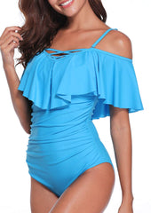 V Neck Off Shoulder Ruched Swimsuit - Tempt Me