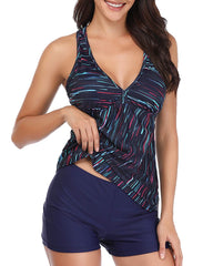 V Neck Tankini with Boyshort Bottom - Tempt Me