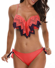 Push Up Geometric Flounce Bikini - Tempt Me