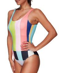 Rainbow Colorful Stripe Plaid Backless Monokini - Tempt Me