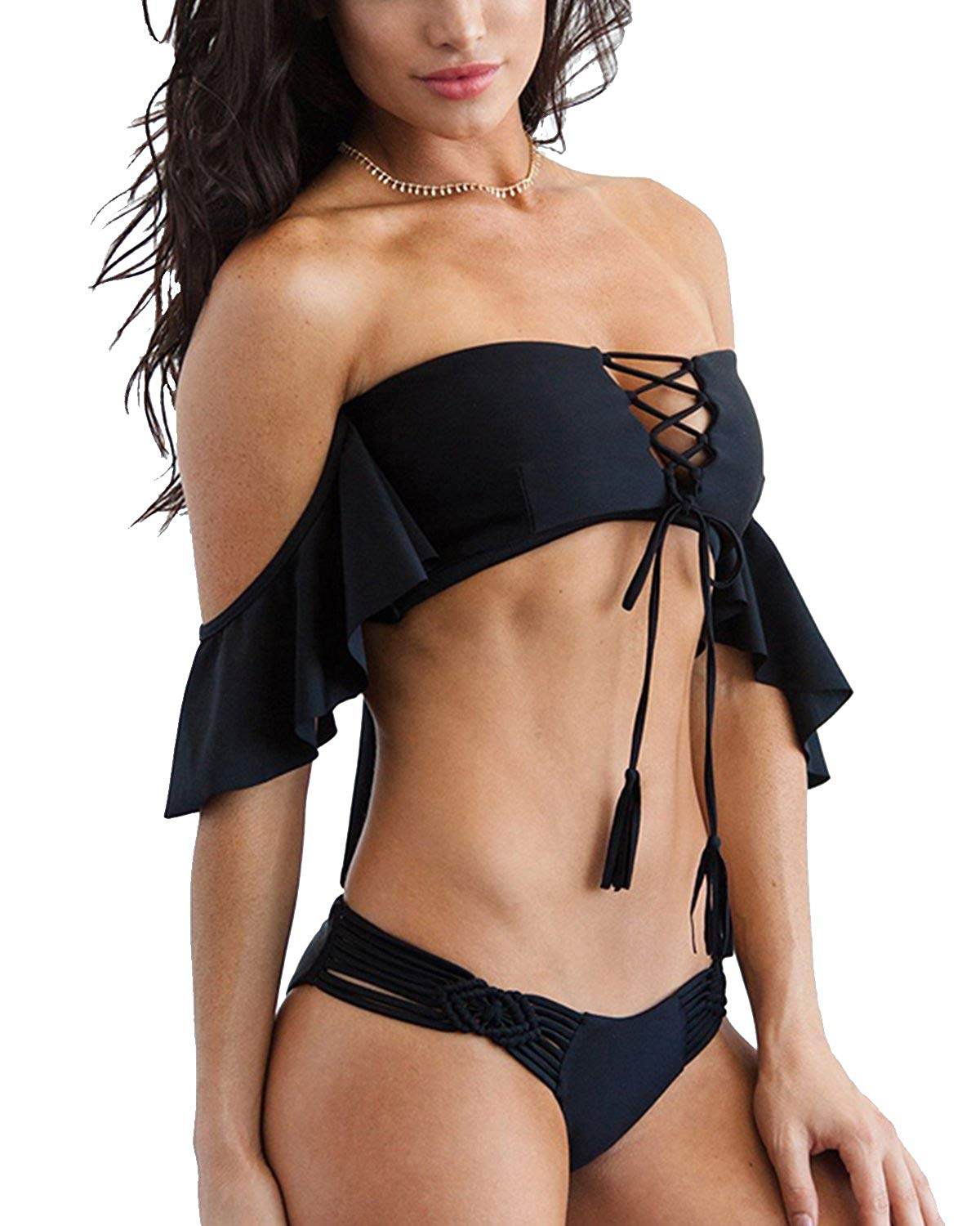 Off Shoulder Cheeky Strappy Weaving Thong Bikini - Tempt Me