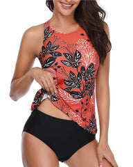 Backless High Neck Halter Floral Tankini - Tempt Me