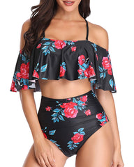 Ruffle Off Shoulder High Waisted Flounce Bikini - Tempt Me