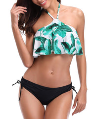 Flounce Off Shoulder High Neck Palm Bikini - Tempt Me