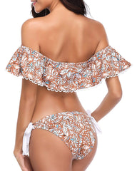 Floral Ruffle Off Shoulder Bikini - Tempt Me