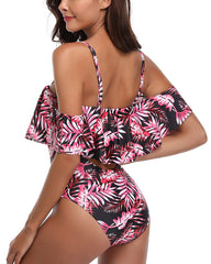 Tropical Flounce Off Shoulder Cut Out Monokini - Tempt Me