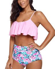 Tiered Striped Ruched High Waisted Bikini - Tempt Me