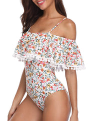 Vintage Off Shoulder Ruffled Swimsuits - Tempt Me