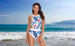 Cut Out Floral Printed Backless Swimsuit - Tempt Me