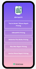 "An iPhone shows ""You're Broke"" iPhone Repair's price comparison tool. This tool takes all of the competitors in an area, lists them in order, and shows that our prices are the best"